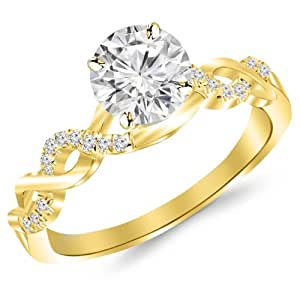 0.88 Carat Twisting Infinity Gold and Diamond Split Shank Pave Set Diamond Engagement Ring 14K Yellow Gold with a 0.75 Carat I-J I2 Round Brilliant Cut/Shape Center