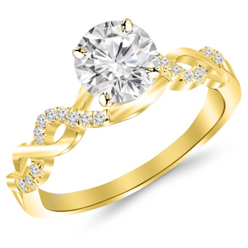 - 0.46 Carat Twisting Infinity Gold and Diamond Split Shank Pave Set Diamond Engagement Ring 14K Yellow Gold with a 0.33 Carat I-J I2 Round Brilliant Cut/Shape Center
