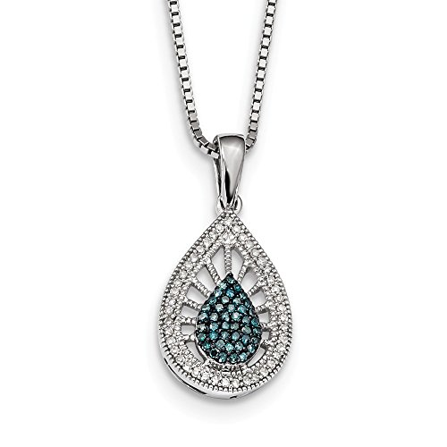 925 Sterling Silver Blue White Diamond Pendant Charm Necklace Fine Jewelry Gifts For Women For Her