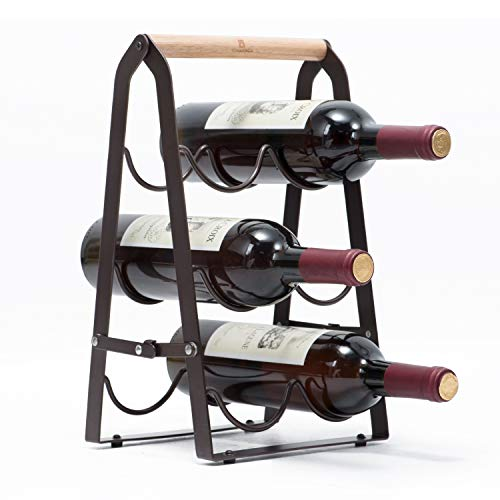 KINGRACK Countertop Wine Rack, Tabletop Wood Wine Holder for 6 Bottle Wine, 3-Tier Classic Design, Perfect for Home Decor, Bar, Wine Cellar, Basement, Cabinet, Pantry-Set of 1, Wood & Metal(Copper) (Holder Wine Tabletop)