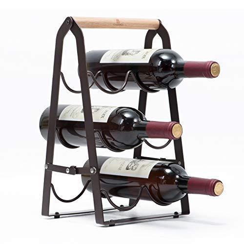 (KINGRACK Countertop Wine Rack, Tabletop Wood Wine Holder for 6 Bottle Wine, 3-Tier Classic Design, Perfect for Home Decor, Bar, Wine Cellar, Basement, Cabinet, Pantry-Set of 1, Wood & Metal(Copper))