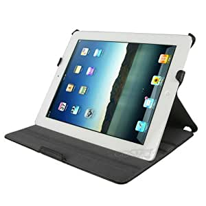 Manvex Slim and Compact Leather Folio Case for The New iPad 4th Generation (will also fit iPad 3 and 2) Smart Cover w/ Sleep/Wake Function | Includes FREE Screen Protector and Cleaning Cloth - Black