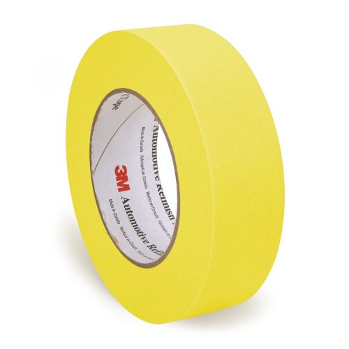 3M 06654 Refinish Masking Tape, 36 mm x 55 m, Yellow, 24 Pack (Pack of 24)
