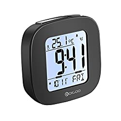 DIGOO Multi-functional Digital Alarm Clock with Temperature Display, Backlit LCD, Snooze Function, Date/Day/Language Setting