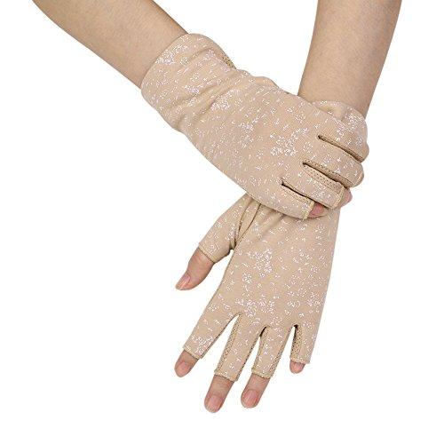 ITODA Women Fingerless Gloves Anti-UV Elegant Breathable Moisture Wicking Cooling Grip Non-slip Sunscreen Sun UV Protection Gloves OutdoorSkin ()