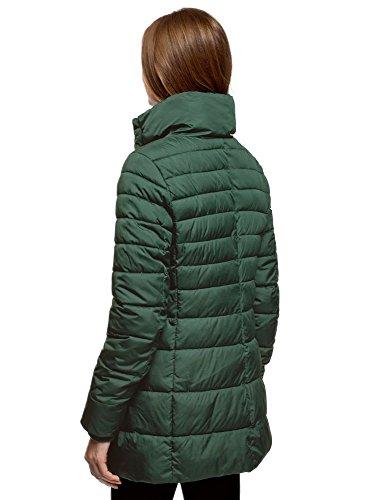 Mujer Decorativos Cremallera 6900n Botones Ultra y con oodji Chaqueta Acolchada Verde q78w5T