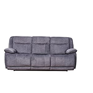 Betsy Furniture 2-PC Microfiber Fabric Recliner Set Living Room Set in Grey, Sofa + Loveseat, Pillow Top Backrest and Armrests 8006-32