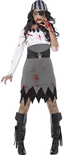 (Ladies Dead Bloody Scary Zombie Pirate Halloween Fancy Dress Costume Outfit UK 4-22 (UK)