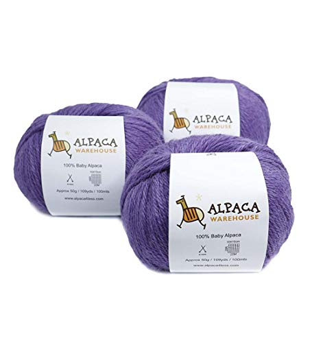 (100% Baby Alpaca Yarn Wool Set of 3 Skeins Worsted Weight (Violet))