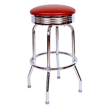 Richardson Seating Retro 1950s Chrome Swivel Bar Stool with Wine Seat – 30
