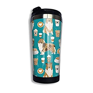 FISHUA Rough Collie Coffee Fabric Coffee Patern Dog Gift Rough Collie Dogs Insulated Vacuum Stainless Steel Tumbler 13.5oz Coffee Travel Mug 9