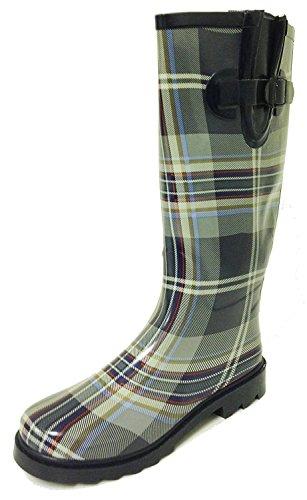 G4U-RB RF Women's Rain Boots Multiple Styles Color Mid Calf Wellies Buckle Fashion Rubber Knee High Snow Shoes (8 B(M) US, Grey Plaid) by G4U-RB