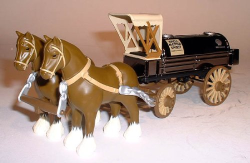"Shell #1 (2003) - Horses and Tanker Wagon (bank) , SPECIAL EDITION , Comes with ""Black Chrome"" tank and wagon body , This Diecast Metal (even the horses are diecast) Bank with Lock and Key is the FIRST in a NEW SE from ERTL"