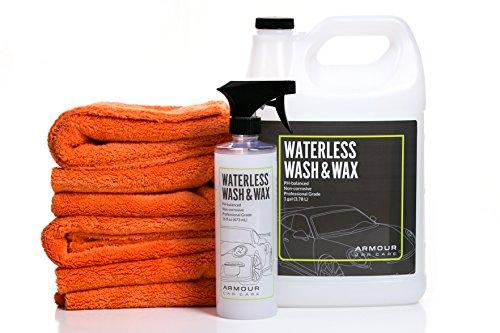 Armour Car Care Waterless Car Wash Kit is Professional Aircraft Grade Car Detailing Kit for Car, Motorcycle, Boat, RV. Wet or Waterless Car Cleaning Kit.