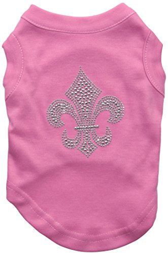 Mirage Pet Products Silver Fleur De Lis Rhinestone Pet Shirts, Small, Bright Pink
