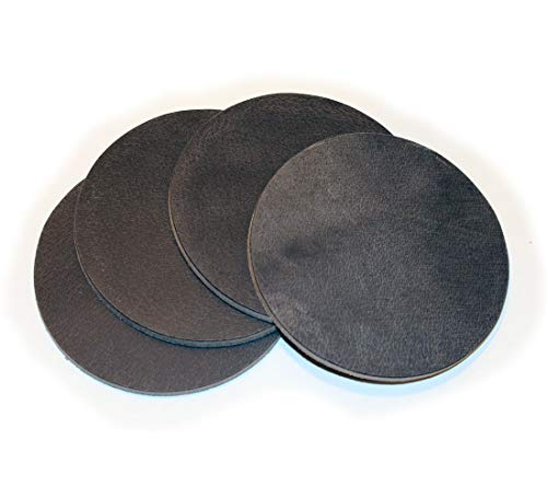 Full Grain Round Gray Leather Coaster 4-Pack - Made in the USA