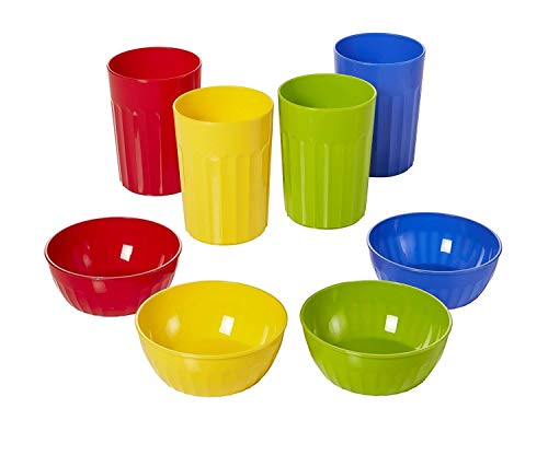 - Plastic Bowls & Tumbler Combo Set by Arrow - BPA Free, Dishwasher Safe, Stackable - Bowls for Kids & Toddlers for Everyday Meal Time, (4) 10oz Reusable Cups & (4) 16oz Reusable Bowls (Primary Colors)