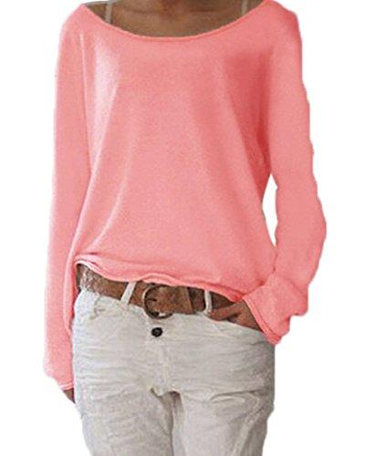 Damen Langarm O-Ausschnitt Einfarbig Lose Bluse Hemd Shirt Oversize Sweatshirt Oberteil Tops