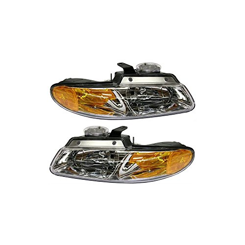 (Headlight Set of 2 compatible with 96 Chrysler Town & Country Right and Left Side Assembly)