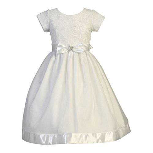 Lito Big Girls White Embroidered Tulle Sequin Holly Communion Dress 8