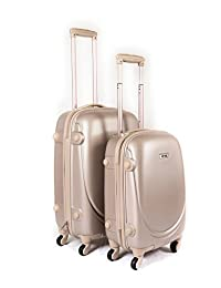 """YUL® Brilliant Canada Design Luggage Set Trolley Suitcase Spinner Hard Shell Lightweight with TSA Locker (Smiling Collection Gold, 20""""+ 24"""")"""