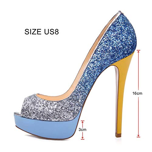Pumps Peep Azul Pan de Stiletto Rojo Sandals Plata High Wedding Platform Party Toe Caitlin Lentejuelas Shoes Fondo Heels Womens Dress I4TxwdqEE