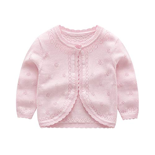 XIAOHAWANG Knitted Baby Girls Cardigan Toddler Button up Sweaters (3 Years, Pink)