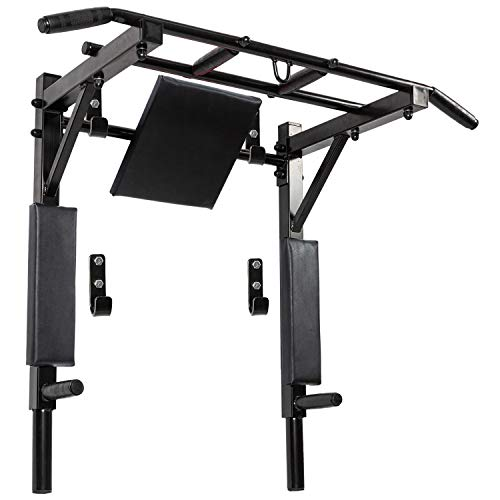 Wandmontage Pull Up Bar en Dip Station Multi-Grip Chin Up Bar Dip Stands Compacte Power Tower voor Indoor Thuis Gym…