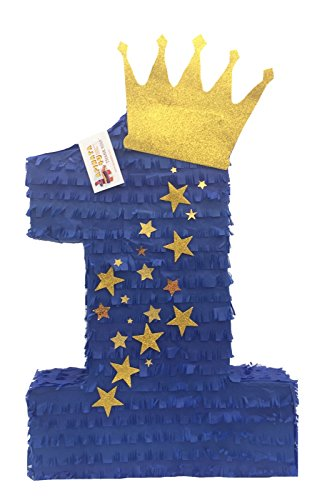 APINATA4U Royal Blue & Gold Crown Number One Pinata Little Prince Theme Party -
