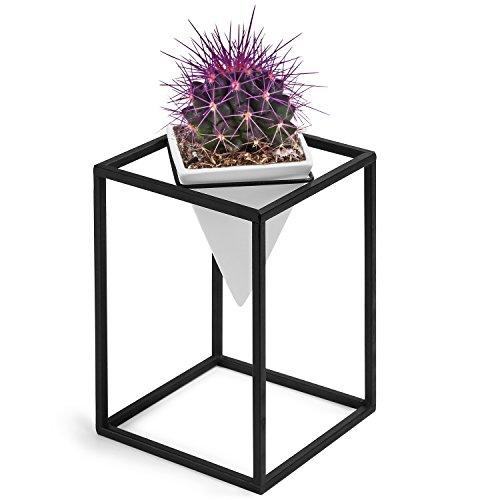 MyGift Modern Triangle Ceramic Planter Pot with Black Metal (Black Metal Stand)