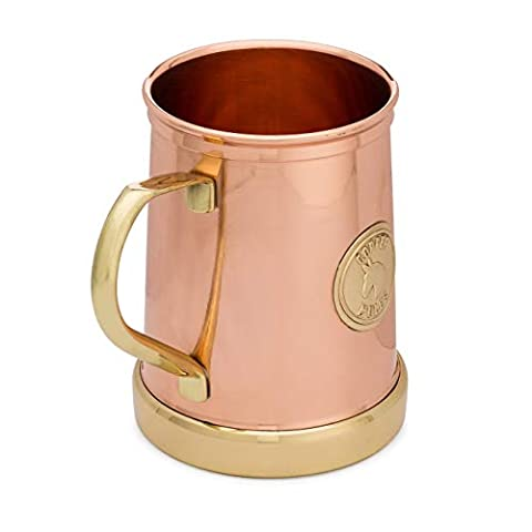The Finest HandCrafted Copper Mug by Copper Mules – Unique Patent Pending Design – Solid Brass Base and Handle – Holds…