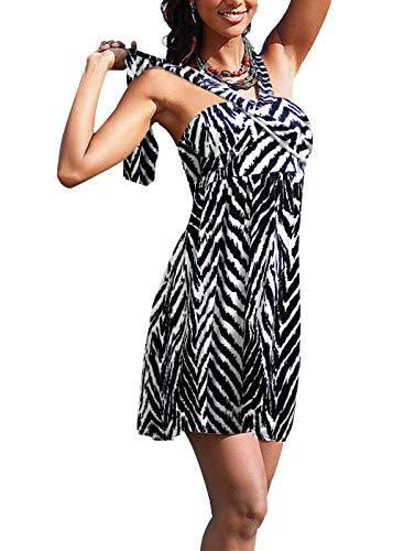 Jusfitsu Cotton Halter Neck Women Beach Dress Bandeau Casual Summer Dress Sleeveless Floral Mini Beachwear Cover Up ZebraPrint XL ()