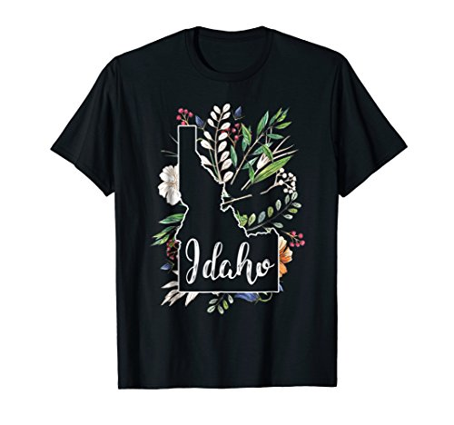 Idaho Chalkboard Watercolor Flowers Home State T-Shirt