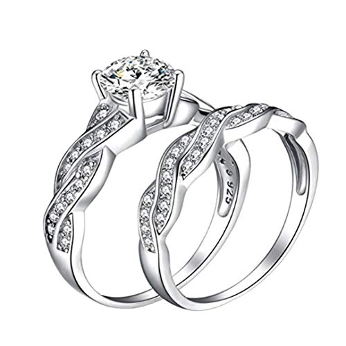 【MOHOLL】 Wedding Rings Engagement Rings for Women Anniversary Promise Ring Bridal Sets 925 Sterling -