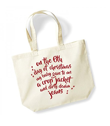 Slogan Tote Me Canvas Jeans Of Kelham Gave My Unisex Day Natural Baby red Dirty Jacket Christmas 6th To Crop And Print Cotton Denim On A Bag The xTqCpwEC