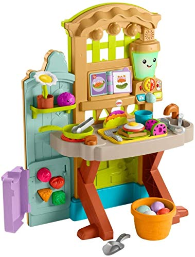 Fisher-Price Laugh & Learn Grow-the-Fun Garden to Kitchen, Interactive Farm-to-Kitchen Playset for Toddlers with Music…