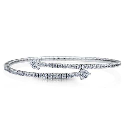 BERRICLE Rhodium Plated Sterling Silver Cubic Zirconia CZ Heart Fashion Bangle Bracelet