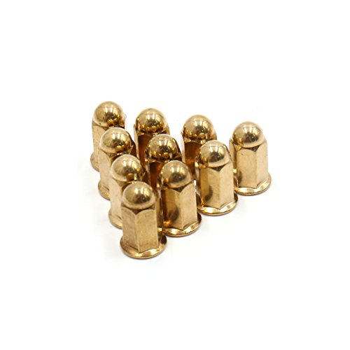 Uxcell a17061300ux0989 10Pcs M6 Gold Tone Metal Exhaust Pipe Screw Bolt Nut Cap Cover for Motorcycle, 10 Pack