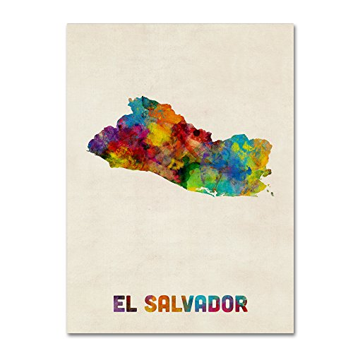 - El Salvador Watercolor Map by Michael Tompsett, 24x32-Inch Canvas Wall Art