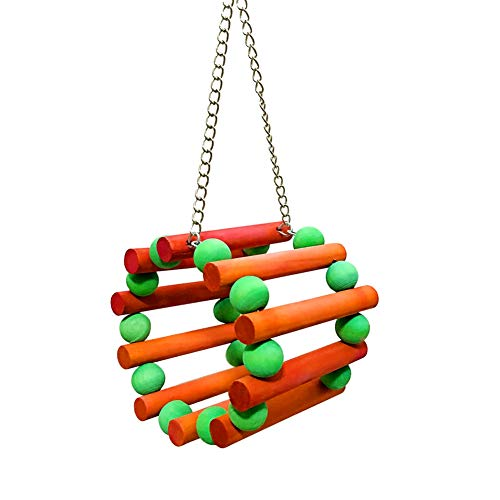 zhangwei Multicolor Bird Parrot Toys Wood Swing Cage Toy Colorful Wooden Tunnel - Parakeet Orange Sticks