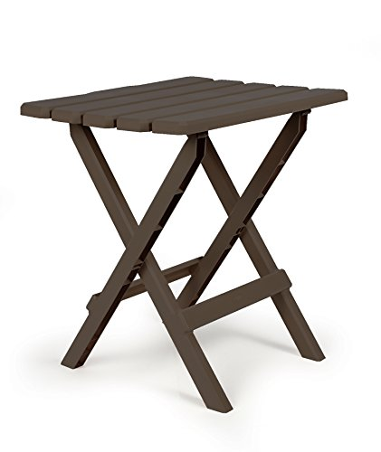Camco 51886 Mocha Large Adirondack Portable Outdoor Folding Side Table, Perfect for The Beach, Camping, Picnics, Cookouts and More, Weatherproof and Rust Resistant ()