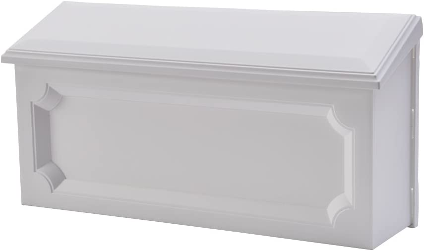 Gibraltar Mailboxes Windsor Medium Capacity Rust-Proof Plastic White, Wall-Mount Mailbox, WMH00W04