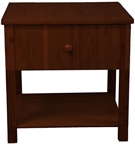 - Belmont 100% Bamboo Wood with One Drawer and One Shelf Nightstand, End, Side, Accent, or Coffee Table, Mahogany
