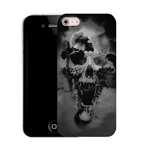 Mobile Case Mate IPhone 4 clip on Silicone Coque couverture case cover Pare-chocs + STYLET - black holed skull pattern (SILICON)