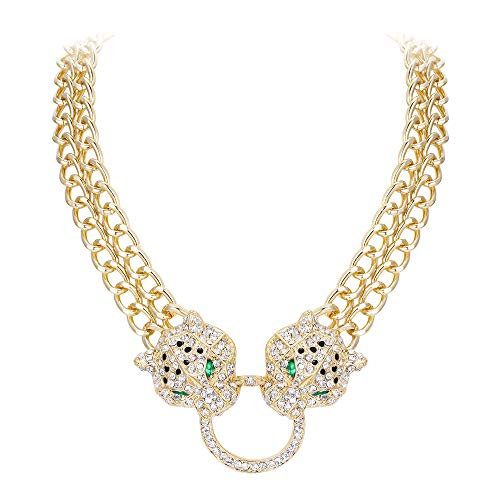 (EVER FAITH Gold-Tone Austrian Crystal Leopard Animal Circle Necklace)