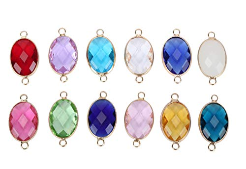 - 10pcs April Birthstone Charm Connectors 18mm Austrian Crystal Beads for Jewelry Craft Making CCP7-4