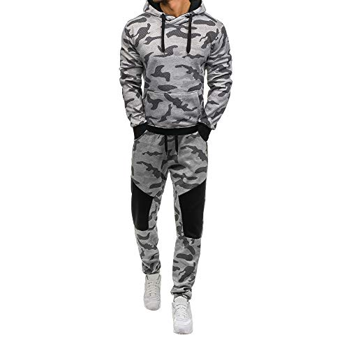 Sumen Men Camouflage Print Long Sleeve Sweatshirt Top Pants Sets Athletic Tracksuits by Sumen Men