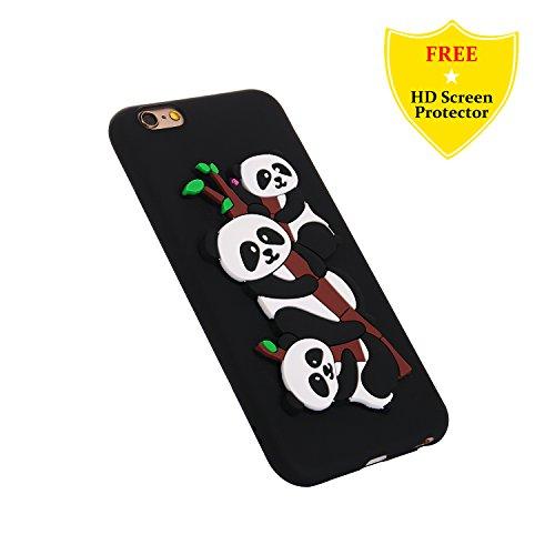 Protector Tpu Cartoon Panda Creative Silicone Anti Iphone Skin scratch Screen Hd Flexible Appl idatog X Back For Shockproof Protective Design Black Soft Cute Free Case 3d Gel Bumper Cover HzwzUqX