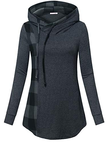 Messic Women's Funnel Neck Check Contrast Tunics Lightweight Pullover Hoodie Top (Carbon Grey, Medium) ()