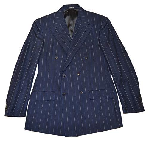 (Ralph Lauren Polo RRL Double Breasted Peak Blazer Wool Pinstripe Navy Italy 42)